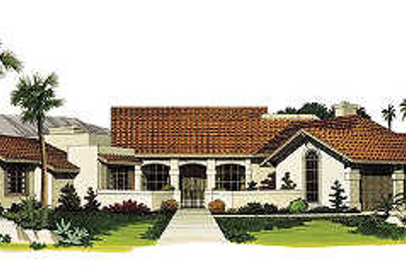Adobe / Southwestern Exterior - Front Elevation Plan #72-185