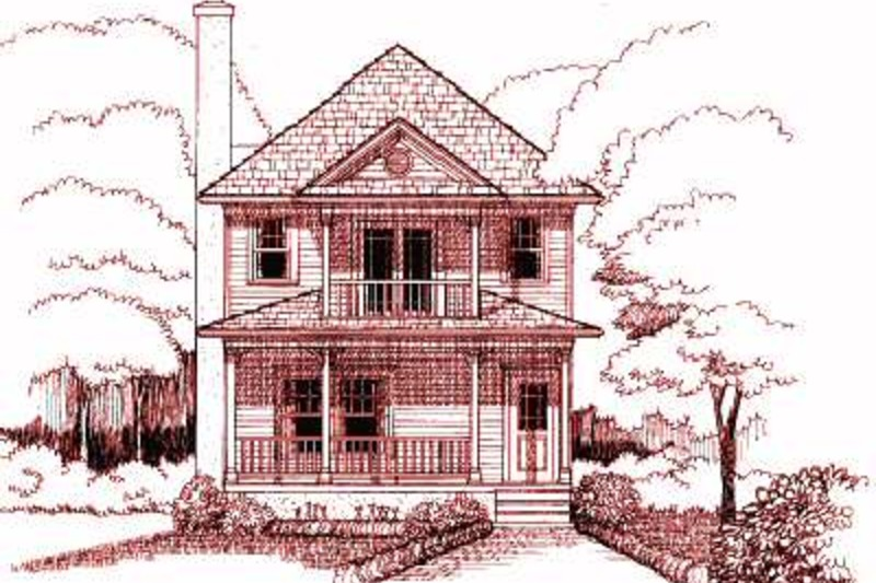Southern Style House Plan - 3 Beds 2.5 Baths 1435 Sq/Ft Plan #79-198 Exterior - Front Elevation