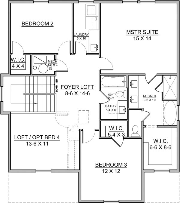 Traditional Floor Plan - Upper Floor Plan Plan #1073-9