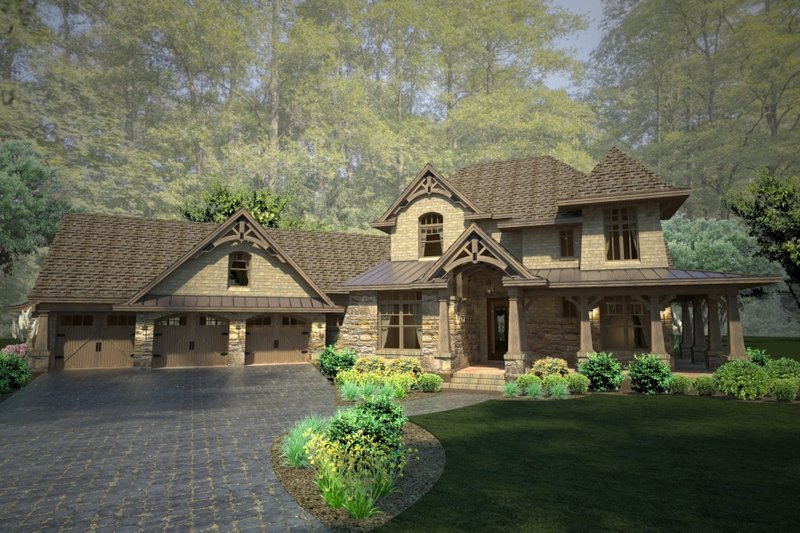 Craftsman Style House Plan - 4 Beds 4 Baths 3069 Sq/Ft Plan #120-178 Exterior - Front Elevation