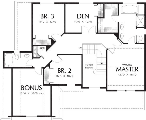 Traditional Floor Plan - Upper Floor Plan Plan #48-330