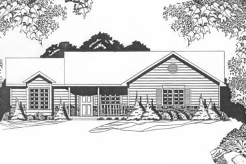 Ranch Style House Plan - 3 Beds 2 Baths 1271 Sq/Ft Plan #58-128 Exterior - Front Elevation