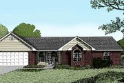 Ranch Style House Plan - 4 Beds 2 Baths 1599 Sq/Ft Plan #11-104 Exterior - Front Elevation