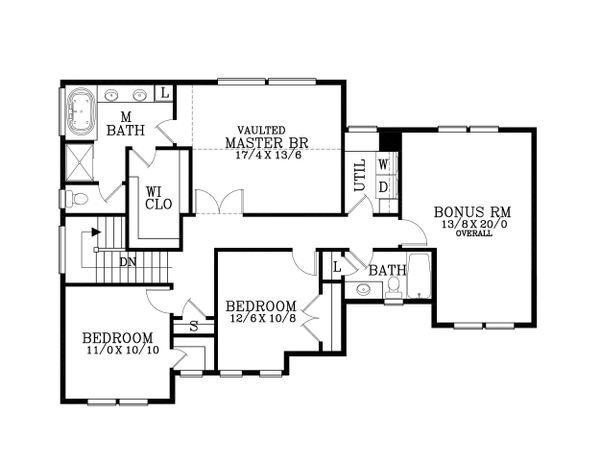 Craftsman Floor Plan - Upper Floor Plan Plan #53-483
