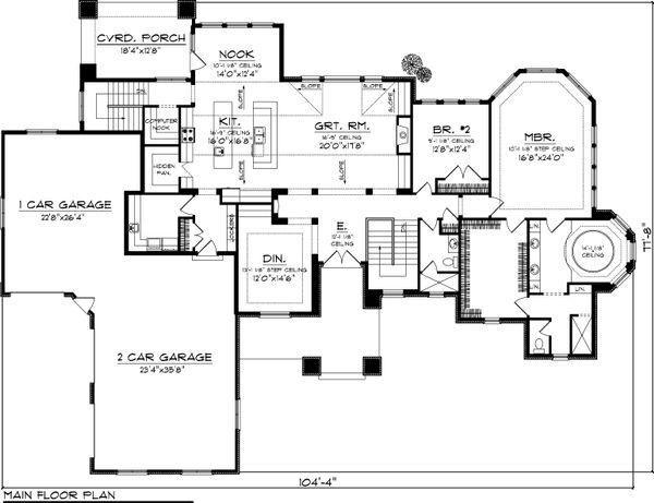 Ranch Floor Plan - Main Floor Plan Plan #70-1061