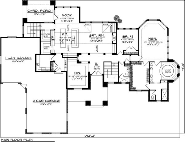 Dream House Plan - Ranch Floor Plan - Main Floor Plan #70-1061