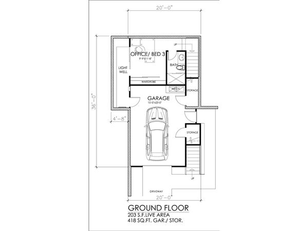 Modern Floor Plan - Lower Floor Plan #484-3
