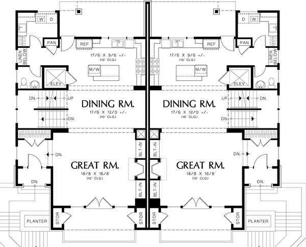 Main level floor plan - 2800 square foot Modern Duplex