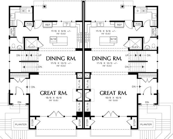 Main level floor plan - 2800 square foot Modern Duplex