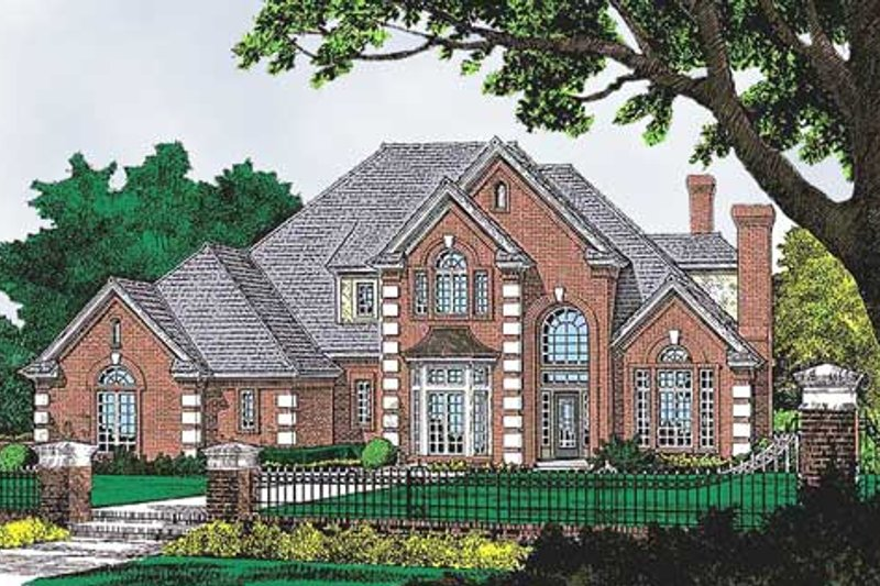 European Style House Plan - 4 Beds 4 Baths 3062 Sq/Ft Plan #310-634 Exterior - Front Elevation