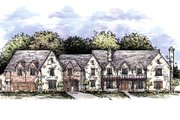 European Style House Plan - 4 Beds 5.5 Baths 4308 Sq/Ft Plan #141-313 Exterior - Front Elevation