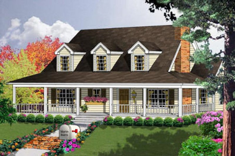 Country Style House Plan - 3 Beds 2 Baths 1250 Sq/Ft Plan #40-103 Exterior - Front Elevation