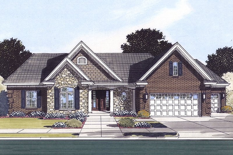 Traditional Style House Plan - 3 Beds 2 Baths 1824 Sq/Ft Plan #46-373 Exterior - Front Elevation