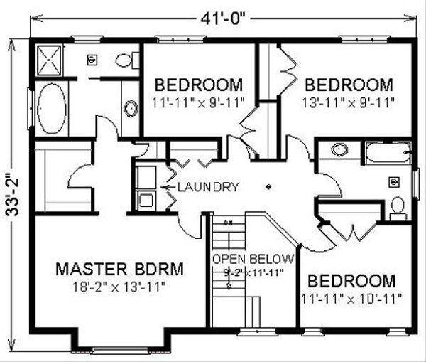 Farmhouse Floor Plan - Upper Floor Plan #414-109