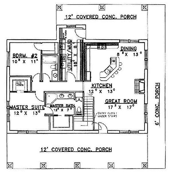 Country Floor Plan - Main Floor Plan Plan #117-275