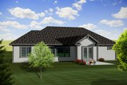 Ranch Style House Plan - 3 Beds 2.5 Baths 1971 Sq/Ft Plan #70-1116 Exterior - Rear Elevation
