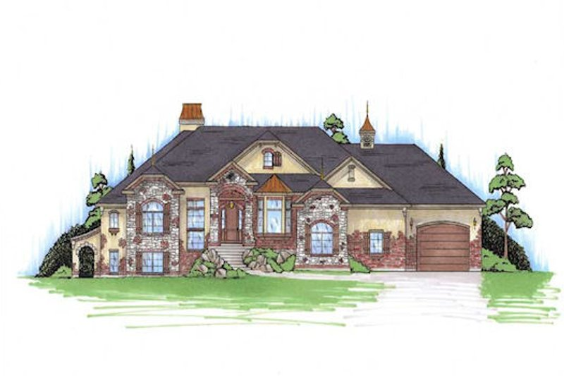 European Style House Plan - 6 Beds 4.5 Baths 2866 Sq/Ft Plan #5-394 Exterior - Front Elevation