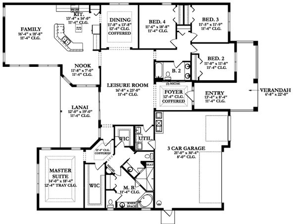 Ranch Floor Plan - Main Floor Plan Plan #1058-169