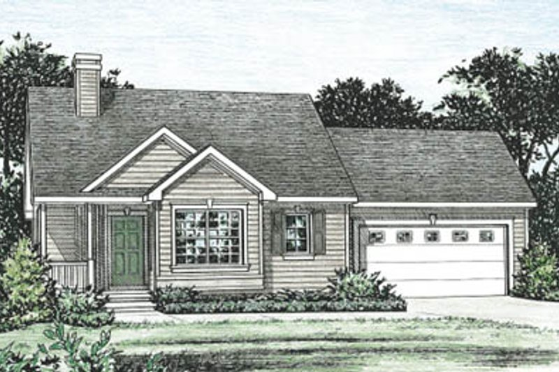 Traditional Style House Plan - 3 Beds 2 Baths 1190 Sq/Ft Plan #20-1238 Exterior - Front Elevation
