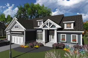 Ranch Exterior - Front Elevation Plan #70-1245