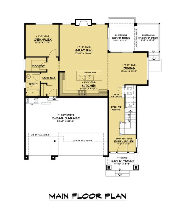 Craftsman Floor Plan - Main Floor Plan #1066-114