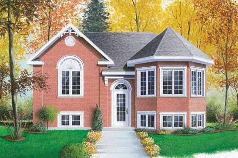 Colonial Style House Plan - 3 Beds 1 Baths 1018 Sq/Ft Plan #23-309 Exterior - Front Elevation