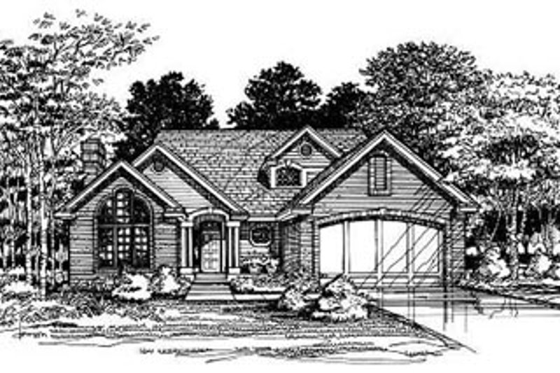 Traditional Style House Plan - 3 Beds 2.5 Baths 2002 Sq/Ft Plan #50-168 Exterior - Front Elevation