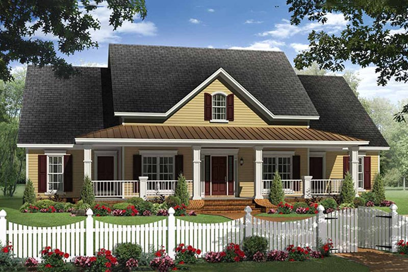 Farmhouse Style House Plan - 4 Beds 2.5 Baths 2336 Sq/Ft Plan #21-313 Exterior - Front Elevation