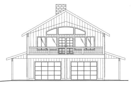 Cabin Exterior - Front Elevation Plan #117-792