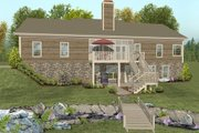 Country Style House Plan - 2 Beds 2.5 Baths 1500 Sq/Ft Plan #56-621 Exterior - Rear Elevation