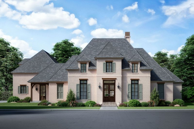 European Style House Plan - 4 Beds 3.5 Baths 3785 Sq/Ft Plan #1074-16 Exterior - Front Elevation