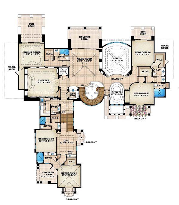Mediterranean Floor Plan - Upper Floor Plan #27-279