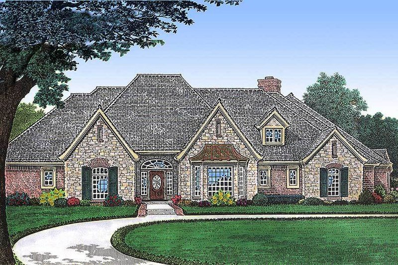 European Style House Plan - 3 Beds 4 Baths 5143 Sq/Ft Plan #310-664 Exterior - Front Elevation