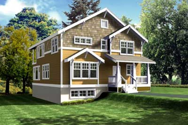 Craftsman Style House Plan - 5 Beds 2.5 Baths 2756 Sq/Ft Plan #100-408 Exterior - Front Elevation