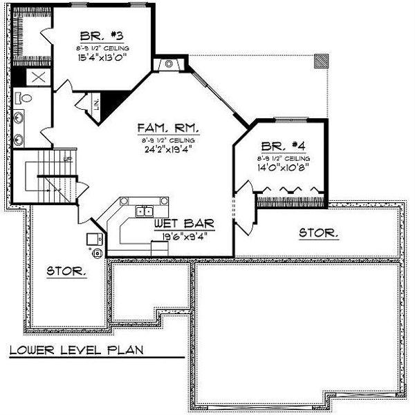 Traditional Floor Plan - Lower Floor Plan Plan #70-865
