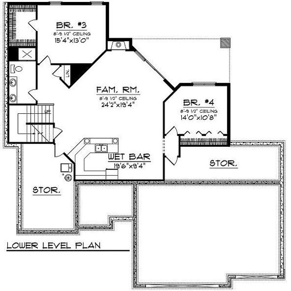 Architectural House Design - Traditional Floor Plan - Lower Floor Plan #70-865