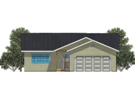 Ranch Exterior - Front Elevation Plan #504-2