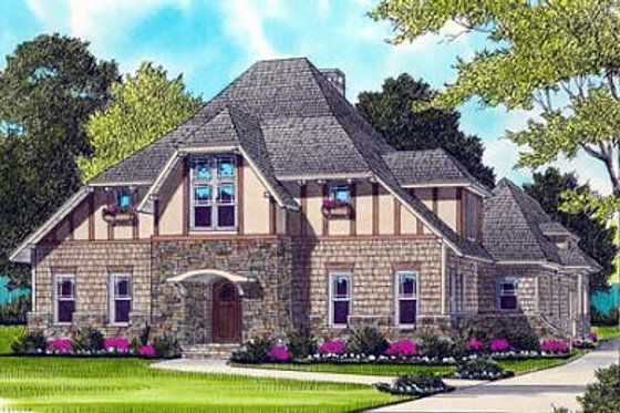 European Exterior - Front Elevation Plan #413-131