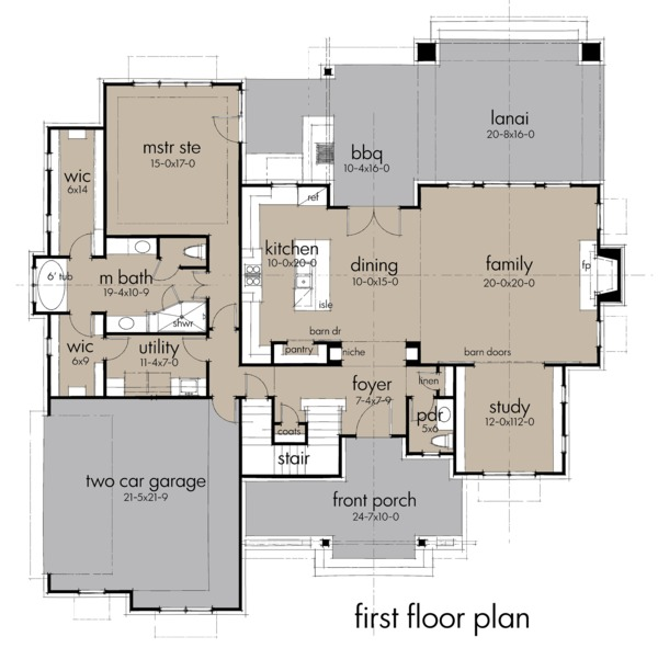 Farmhouse Floor Plan - Main Floor Plan Plan #120-258