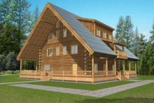 Dream House Plan - Log Exterior - Front Elevation Plan #117-498