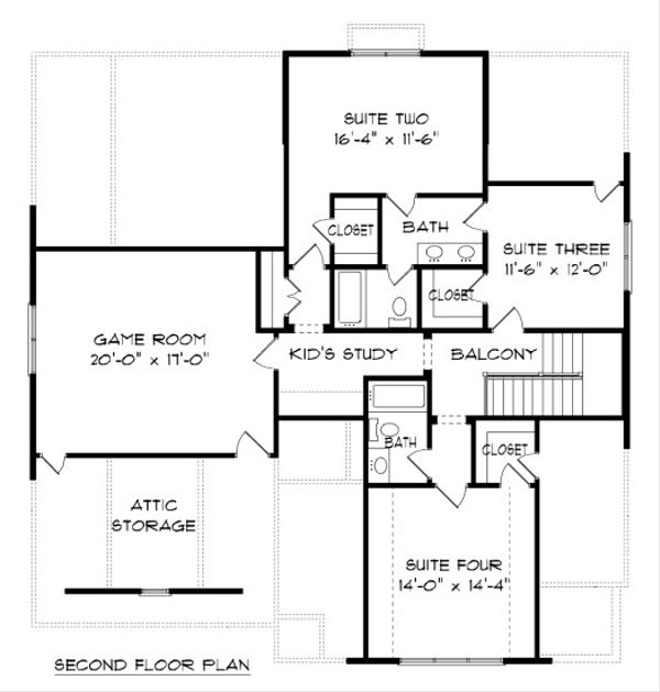 Tudor Floor Plan - Upper Floor Plan Plan #413-881
