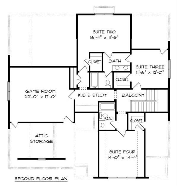Tudor Floor Plan - Upper Floor Plan Plan #413-881