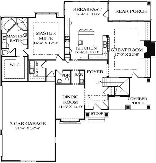 Craftsman Floor Plan - Main Floor Plan Plan #453-14