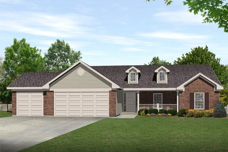 Ranch Style House Plan - 3 Beds 2.5 Baths 1635 Sq/Ft Plan #22-468