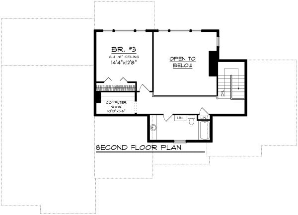 Craftsman Floor Plan - Upper Floor Plan Plan #70-1169
