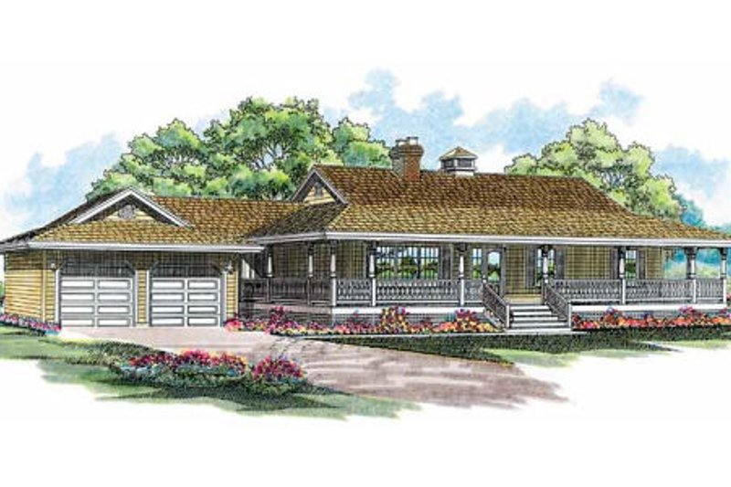 Country Style House Plan - 3 Beds 2 Baths 1541 Sq/Ft Plan #47-186 Exterior - Front Elevation