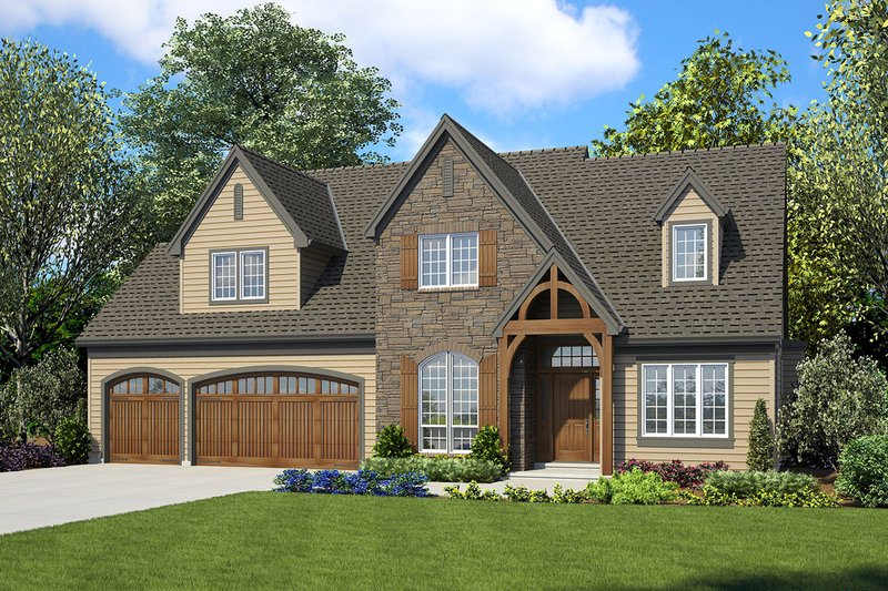 European Style House Plan - 4 Beds 3.5 Baths 2884 Sq/Ft Plan #48-931 Exterior - Front Elevation