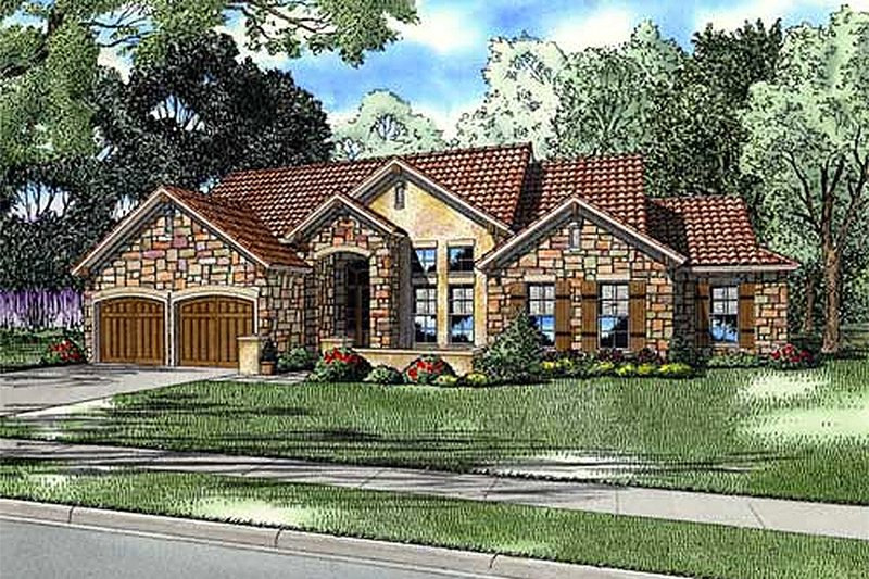 European Style House Plan - 4 Beds 2.5 Baths 2507 Sq/Ft Plan #17-200 Exterior - Front Elevation