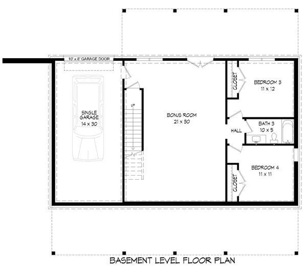 Country Floor Plan - Lower Floor Plan #932-310