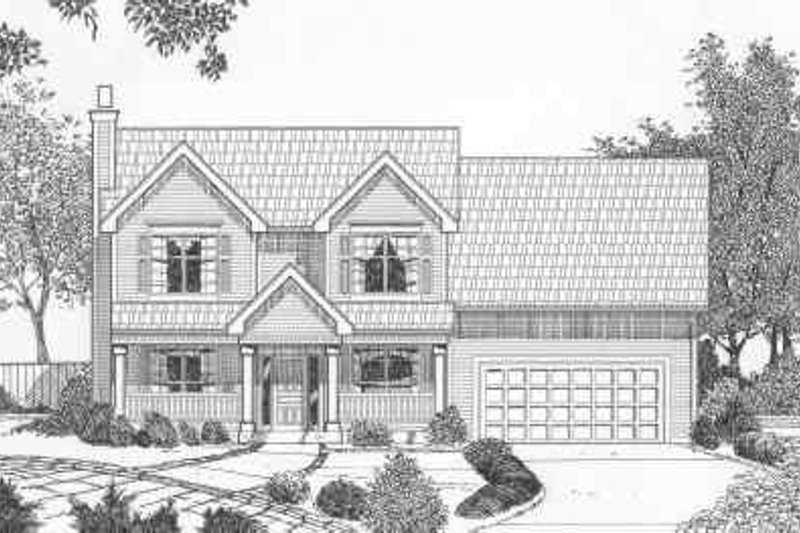 Traditional Style House Plan - 4 Beds 2.5 Baths 1884 Sq/Ft Plan #6-122 Exterior - Front Elevation